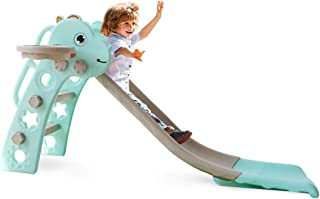 Barakara 2021 更新幻灯片适用于幼儿三合一儿童滑梯室内/室外滑梯独立可折叠大型花园滑梯带篮球篮滑梯套装