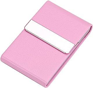 AKDSteel 名片夹便携式男式金属皮革名片盒商务用品金属名片夹名片盒产品,用于商业身份证卡存储粉红色 055#