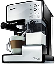 Breville 铂富 PrimaLatte 意式咖啡机 VCF045X 带有15Bar意大利泵,适用于咖啡粉或咖啡包,一体式自动奶泡器,金属/白色