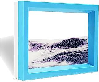 Muyan 移动沙艺术图片感官 3D 自然景观流动沙画双面沙景运动*小玩玩具装饰桌面家庭办公室(紫色)