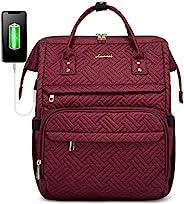 LOVEVOOK 背包 女式笔记本电脑包 Plait 笔记本电脑背包 电脑包 工作包 背包 钱包书包 带 USB 充电端口和行李带 Plait 红酒色