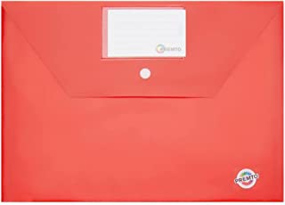 Premier Stationery Premto A4 纽扣收纳钱包,带名片夹,*按扣闭合。番茄红色。