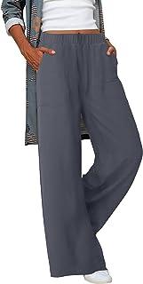 Acelitt 女式休闲裤七分裤抽绳松紧腰舒适长裤带口袋