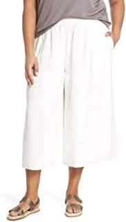 Eileen Fisher 女式加大码丝绸阔腿九分裤象牙色 2 码