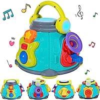 iPlayy, iLearn 婴儿音乐活动立方体游戏中心,儿童卡拉 OK 唱歌感官玩具,灯光声音,吉他鼓麦克风小号礼品,适合 12 18 个月,1 2 3 岁,婴儿幼儿女孩男孩