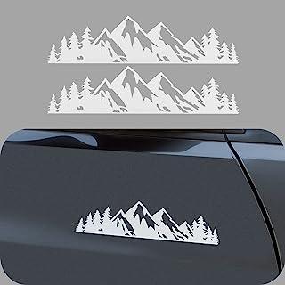 LDYFC 乙烯基山地贴纸,适用于汽车/卡车尾门/笔记本电脑贴花/后备箱徽章徽章户外保险杠贴纸(20.32 厘米白色)--2 件
