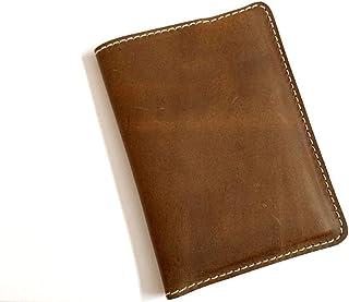 纯正奢华牛皮手工护照保护旅行钱包信用卡套收纳包 5.5 英寸 4.5 英寸 - 棕褐色