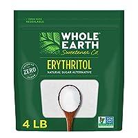 Whole Earth Sweetener Company 純赤蘚糖醇,4磅/約1814.37克 袋裝,天然糖替代品,替代烘焙,零卡路里,無麩質,Non-GMO,酮