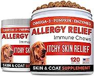 防*狗狗零食 w/ Omega 3 + 南瓜 + 酵素 + 姜黄 - 缓解瘙痒 - *和*补充剂 - 皮肤和外套* - 抗瘙痒和热点 - 美国制造 - 240 粒咀嚼片