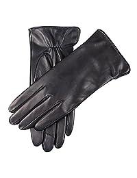 WARMEN 女式触摸屏纹理真皮软羊皮手套冬季保暖简单平羊绒和羊毛混纺内衬手套