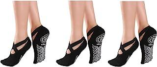 3 双瑜伽袜,适合女士,防滑普拉提,芭蕾,舞蹈,赤脚锻炼防滑袜,带抓地力,尺码 5-10