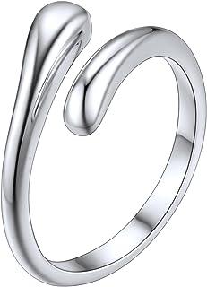 SILVERCUTE 趾戒,925 纯银低*性可调节带环可叠放脚趾指尾戒指套装适合女士男士