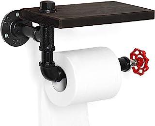 工业卫生纸架,管状纸巾卷塔支架壁挂式带乡村木架,适用于浴室,洗手间,黑色/红色