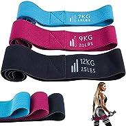 阻力带套装,适合女士,长裤,防滑和滚动,3 套面料健身锻炼环带,带训练手册,适用于家庭、健身房、瑜伽、训练锻炼套件深蹲/臀部/腿部/臀部训练