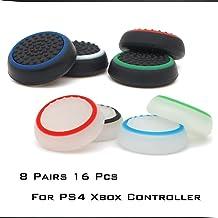 8 对硅胶拇指握把保护盖,兼容 PS4、PS3、PS2 Xbox One 和 Switch Pro 控制器操纵杆