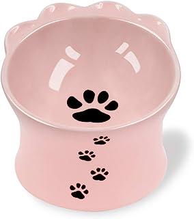 Frewinky 猫碗,陶瓷猫碗 防呕吐 凸起的猫粮碗 适用于扁平猫和小型犬 倾斜的猫碗 保护宠物尖刺 不*