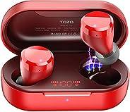 TOZO T12 无线耳塞蓝牙耳机高保真音质和无线充电盒数字智能 LED 显示屏 IPX8 防水耳机内置麦克风耳机深低音适用于运动红色