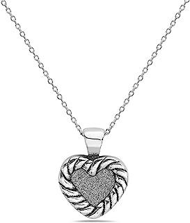 Pori Jewelers 925 纯银闪光心形吊坠项链 女式 - 45.72 cm 锚链