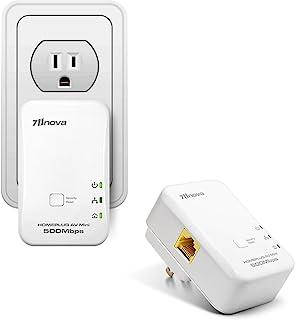 7inova AV500 电力线以太网适配器套件,适用于有线网络扩展 - 迷你、插头和工作,节能