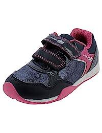 Geox 女童 Jocker 运动鞋双罗纹绑带,*蓝/粉色,欧码 32 M 小童 (1 US)