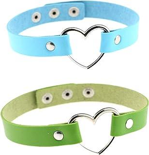 Bersteag 可调节皮革爱型链颈链 适用于女性舞台道具 蓝色和*