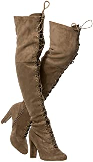 Wild Diva 女士过膝靴 - 性感过膝高拉杆靴 - 时尚低粗跟鞋 - 舒适靴子 -(宽腿版型和常规版型)