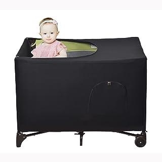 XQBAG 婴儿床遮光罩,室内或室外帐篷便携式婴儿床顶盖,适用于便携式旅行婴儿床,弹性透气婴儿床网*和遮光罩(黑色)