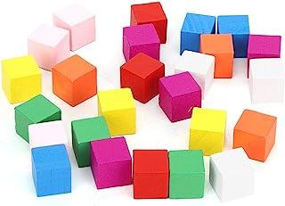 TOPINCN 2 套木制立方体方形彩色木块装饰木制正方形 DIY 手工木工儿童玩具(25 件彩色积木 20 毫米)