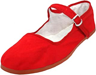 shoes8teen SHOES 18女式棉质中国娃娃玛丽珍鞋芭蕾舞女芭蕾平底鞋