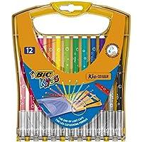 BIC 儿童纤维画家 Kid Couleur 中号 , 毛毡笔实用盒装适用于在路上 , 笔盒 à 20件 Stiftebox à 12 Stück
