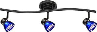 直射照明 3 灯固定 LED 轨道照明套件深古铜色成品透明蓝色亚克力灯罩 A83L-DB-CLB(深青铜色/透明蓝色)