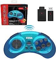 Retro-Bit Sega Genesis 2.4 GHz 无线控制器 8 键式拱门垫,适用于 Sega Genesis 原装/迷你,任天堂开关,电脑,Mac – 包括 2 个接收器和存储盒 – 透明蓝色