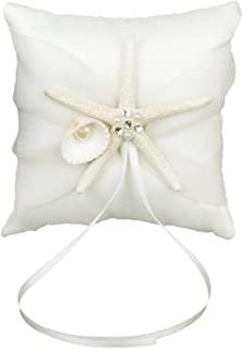 10 * 10 厘米海滩婚礼戒指熊枕套新娘靠垫带缎带