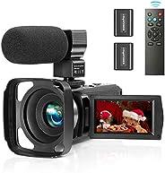 ZUODUN 摄像机视频摄像机 YouTube Vlogging摄像机录像机全高清1080P 30FPS 36MP 3英寸触摸屏红外夜视16倍数码变焦摄像机带外置麦克风,遥控器