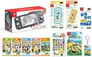 Nintendo 任天堂 Switch Lite 灰色+烟雾 动物森林 -Switch+动物森林amiibo卡各1包+amiibo卡片相册+液晶保护膜 多功能+智能小包EVA梦寐以求的森林+硬质保护套 红豆动物森林] 原