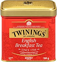 Twinings 川寧 倫敦英式早餐散裝茶罐,3.5盎司(6包),100克