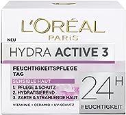 "L'Oreal Paris 巴黎欧莱雅 Dermo Expertise "" Hydra Active 3""保湿霜,适合干性和敏感性皮肤,"