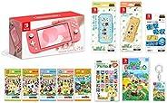 Nintendo 任天堂 Switch Lite 珊瑚色+集合吧 动物森林-Switch+动物森林amiibo卡全部种类各1包+amiibo卡片相册+液晶保护膜 多功能+智能袋EVA 集合吧 动物森林+硬质保护套 集合吧