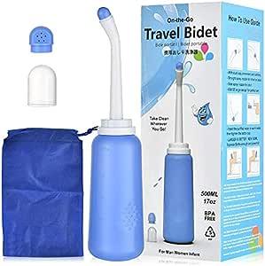 便携式净身盆瓶 - Peri 瓶适用于产后必需品 会*护理 - 旅行浴盆带 2 个喷嘴和储物袋,适合婴儿、女性或被褥*  旅行装洁面乳(500 毫升/17 盎司)