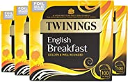 Twinings 茶包 English Breakfast 100 Count (Pack of 4)