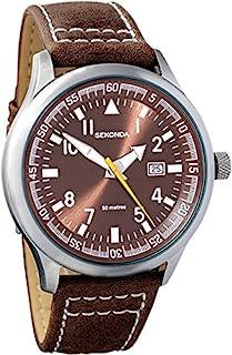 SEKONDA 男式石英手表,模拟显示和皮革表带