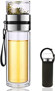 13 盎司(约 368.5 克)双层玻璃茶水瓶杯带冲茶器便携式滤茶器玻璃茶器防漏玻璃茶杯水分离茶滤杯(银色)