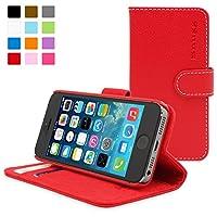 苹果SE/5/5S手机壳-英国Snugg iPhoneSE/ 5/5S保护壳 防摔翻盖式含卡片槽皮革保护套(红色)附带