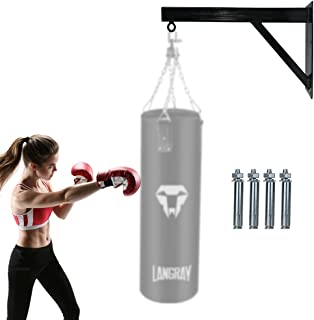 LangRay 重型包壁挂架,打孔拳击速度袋支架,适用于壁挂安装支架,混凝土天花板悬挂支架套件重型钢适用于健身房健身训练,150 磅,黑色,1.97 英尺
