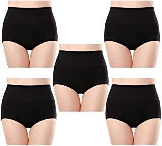 Anktry 女式舒适棉质内裤 5 条装高腰三角裤收腹弹力内裤女式黑色