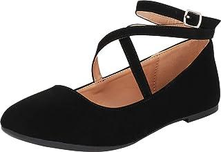 Cambridge Select 女式圆头系带交叉脚踝芭蕾平底鞋
