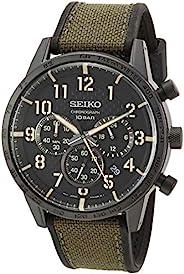 SEIKO 精工 男式计时器/必备不锈钢日本石英硅胶表带,*,0 休闲手表(型号:SSB369)