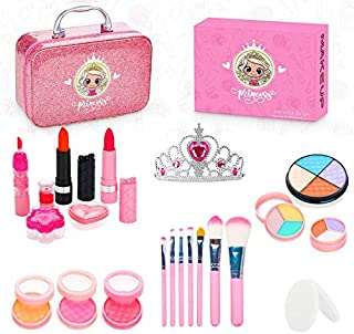 ROYI 儿童化妆用品,带有公主皇冠的可水洗化妆23件装,便携式女孩模拟化妆品套装,非常适合3 4 5 6 7 8岁的人群