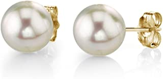 珍珠球 14K 金 AAA 级质量圆形白色养殖 Akoya 耳钉珠女士耳环
