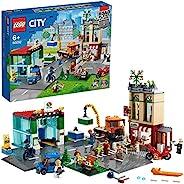LEGO 乐高 60292 City Town Centre 积木套装 带玩具摩托车、自行车、卡车、路板和 8 个迷你人偶